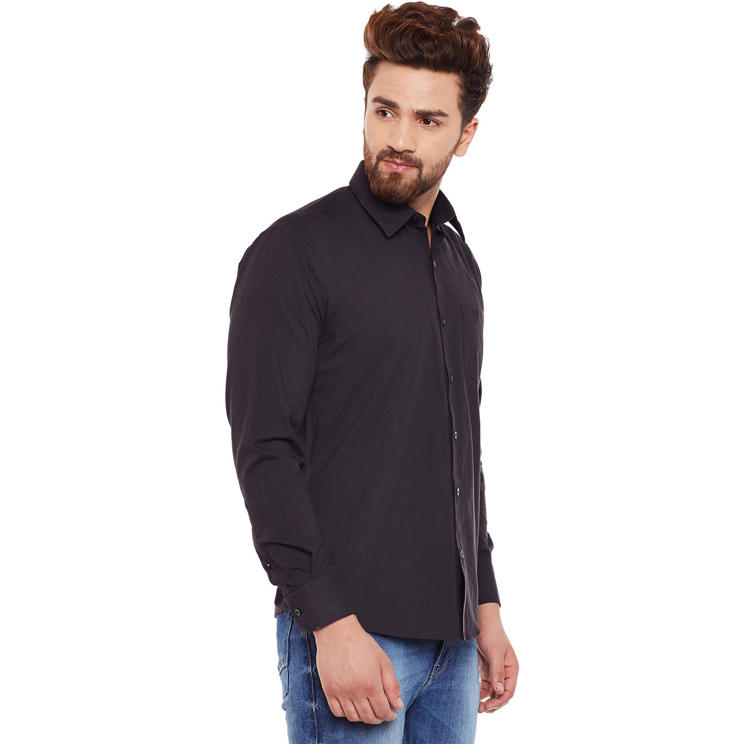 Mens Black Cotton Shirt Regular Fit Full sleeve Classic Collar