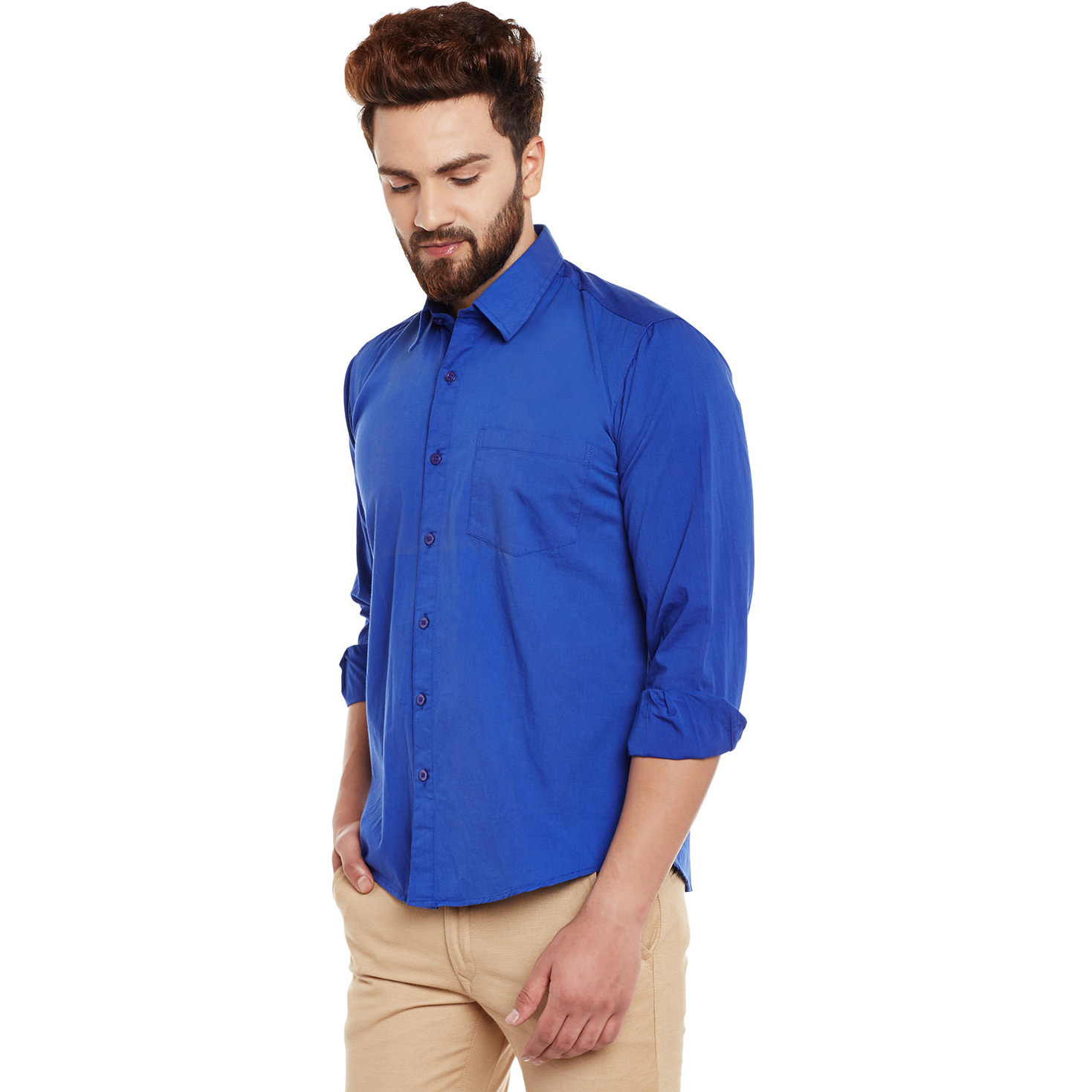 Mens Blue Cotton Shirt Regular Fit Full sleeve Classic Collar