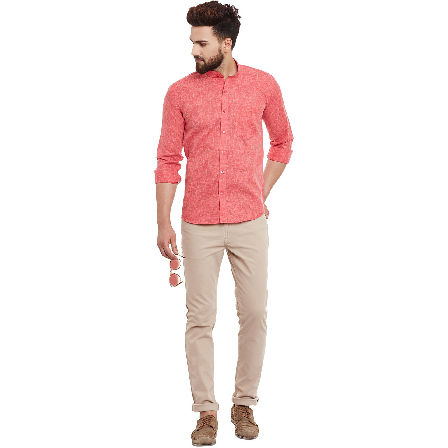Mens Red Cotton Linen Shirt Regular Fit Full sleeve Banded Collar