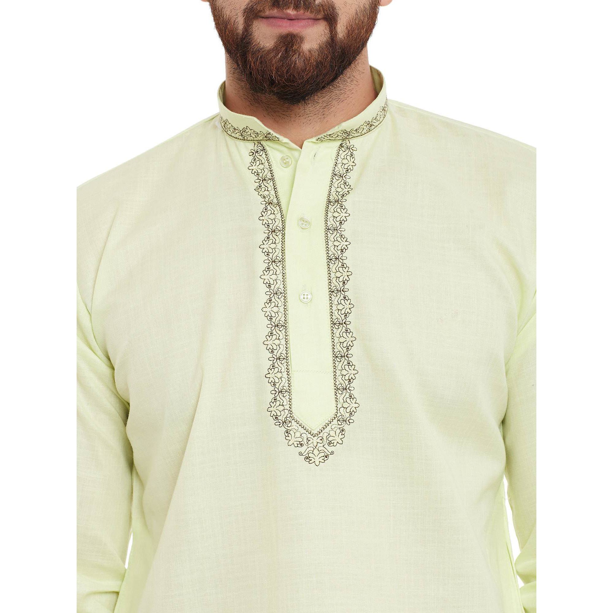 Men's Traditional Ethnic Wear Lime Green Cotton Short Kurta Full Sleeve Regular Fit