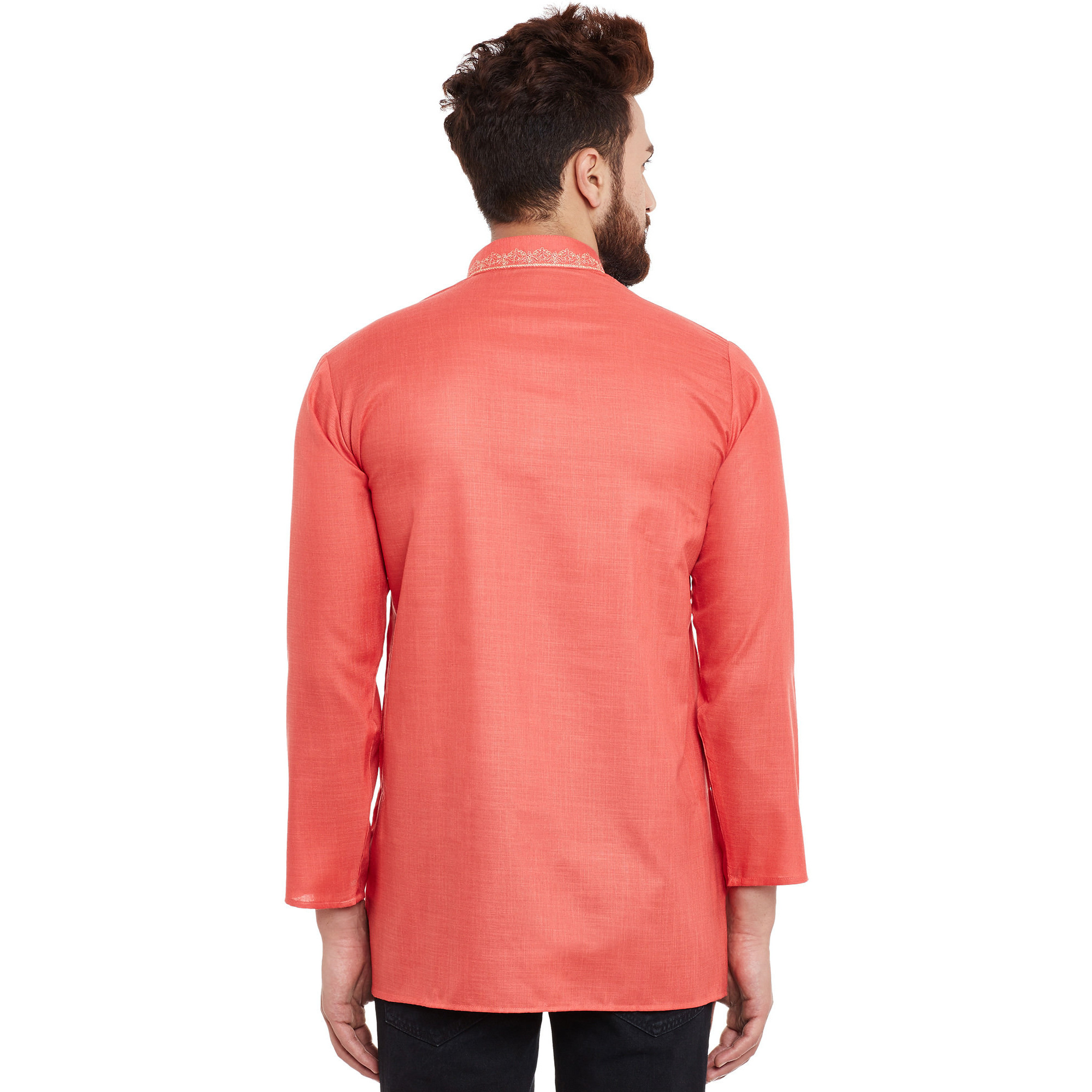 Men's Traditional Ethnic Wear Orange Cotton Short Kurta Full Sleeve Regular Fit