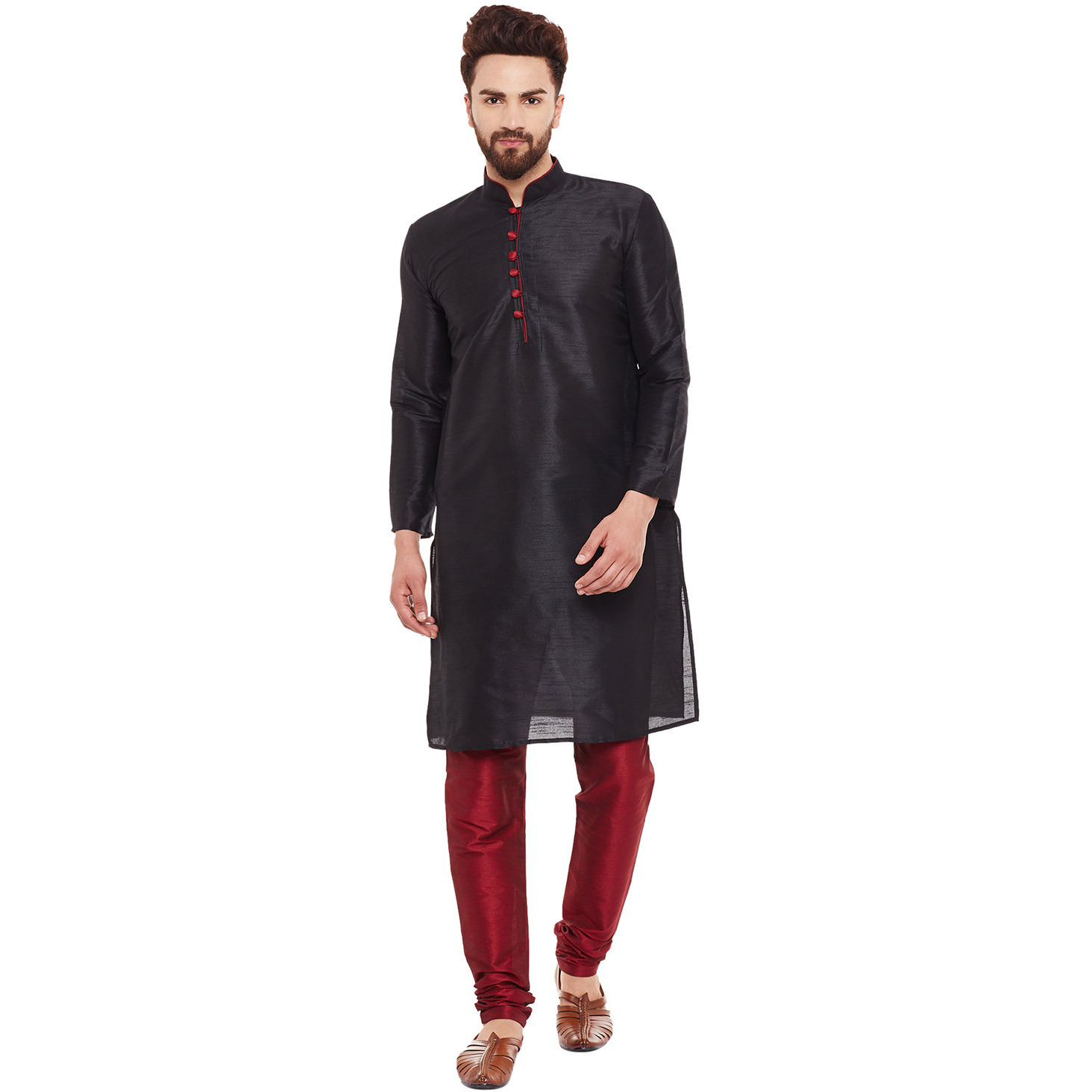 Mens Dupion Silk Black  Solid Designer Kurta Churidaar Set Long Sleeve Ban collar Regular Fit