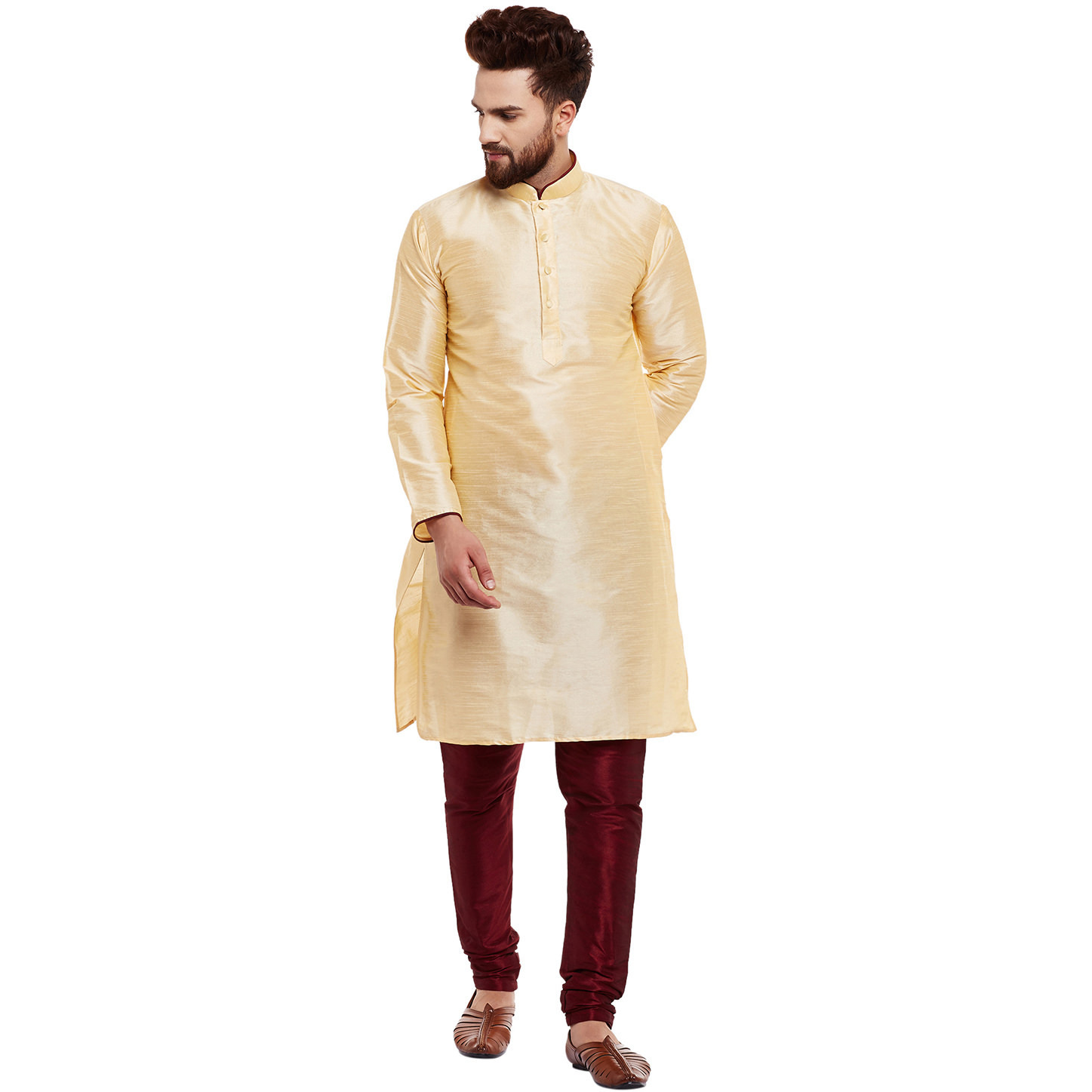 Mens Dupion Silk Golden Solid Designer Kurta Churidaar Set Long Sleeve Ban collar Regular Fit