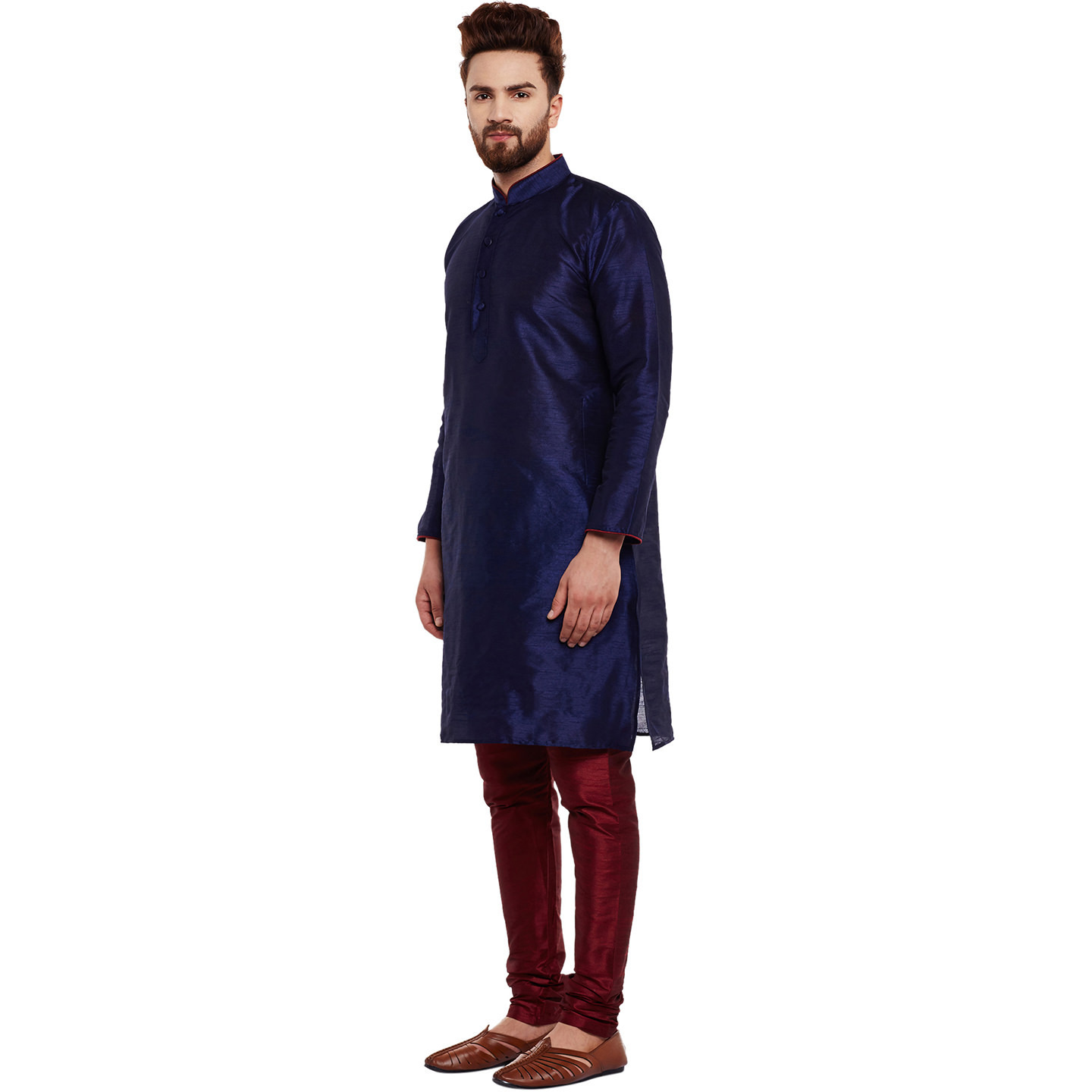 Mens Dupion Silk Royal blue Solid Designer Kurta Churidaar Set Long Sleeve Ban collar Regular Fit