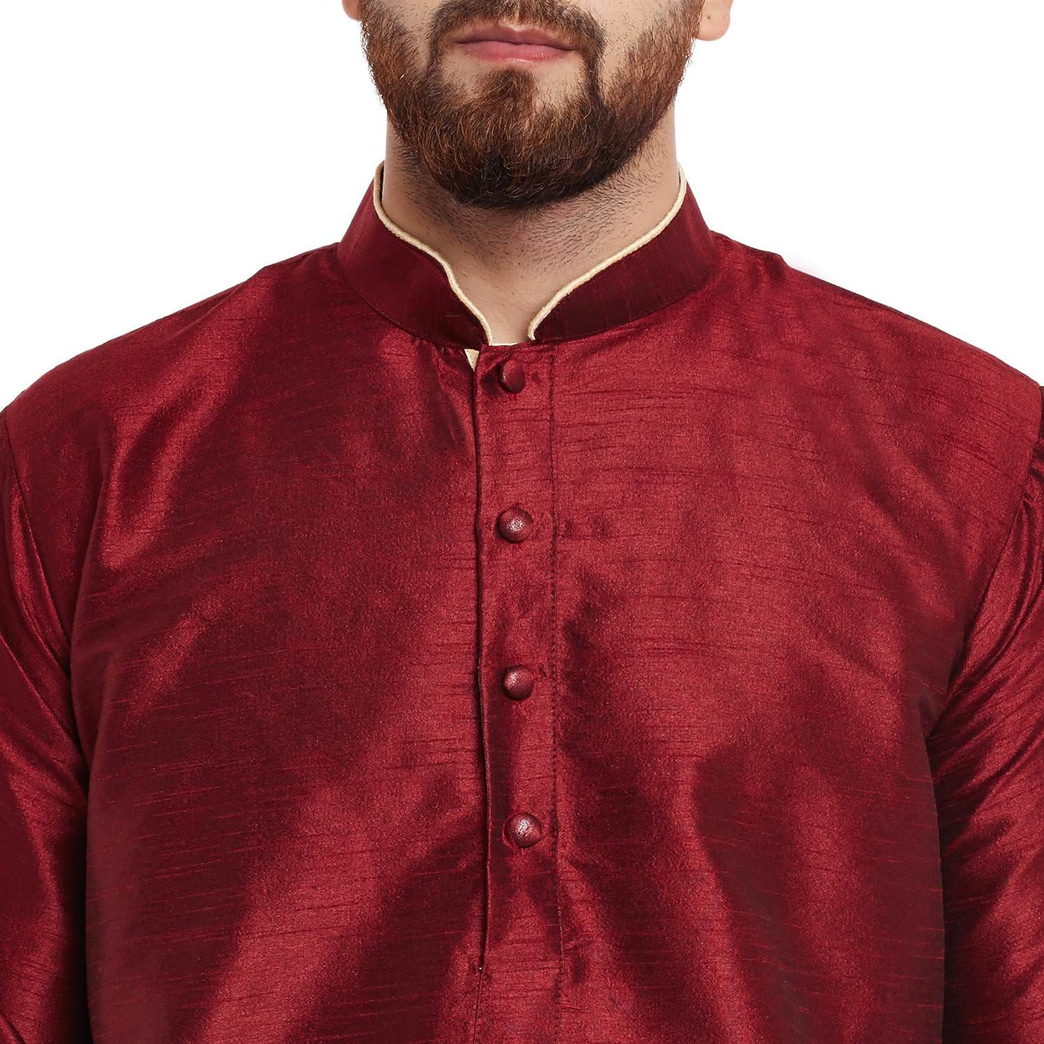 Mens Dupion Silk Maroon Solid Designer Kurta Churidaar Set Long Sleeve Ban collar Regular Fit
