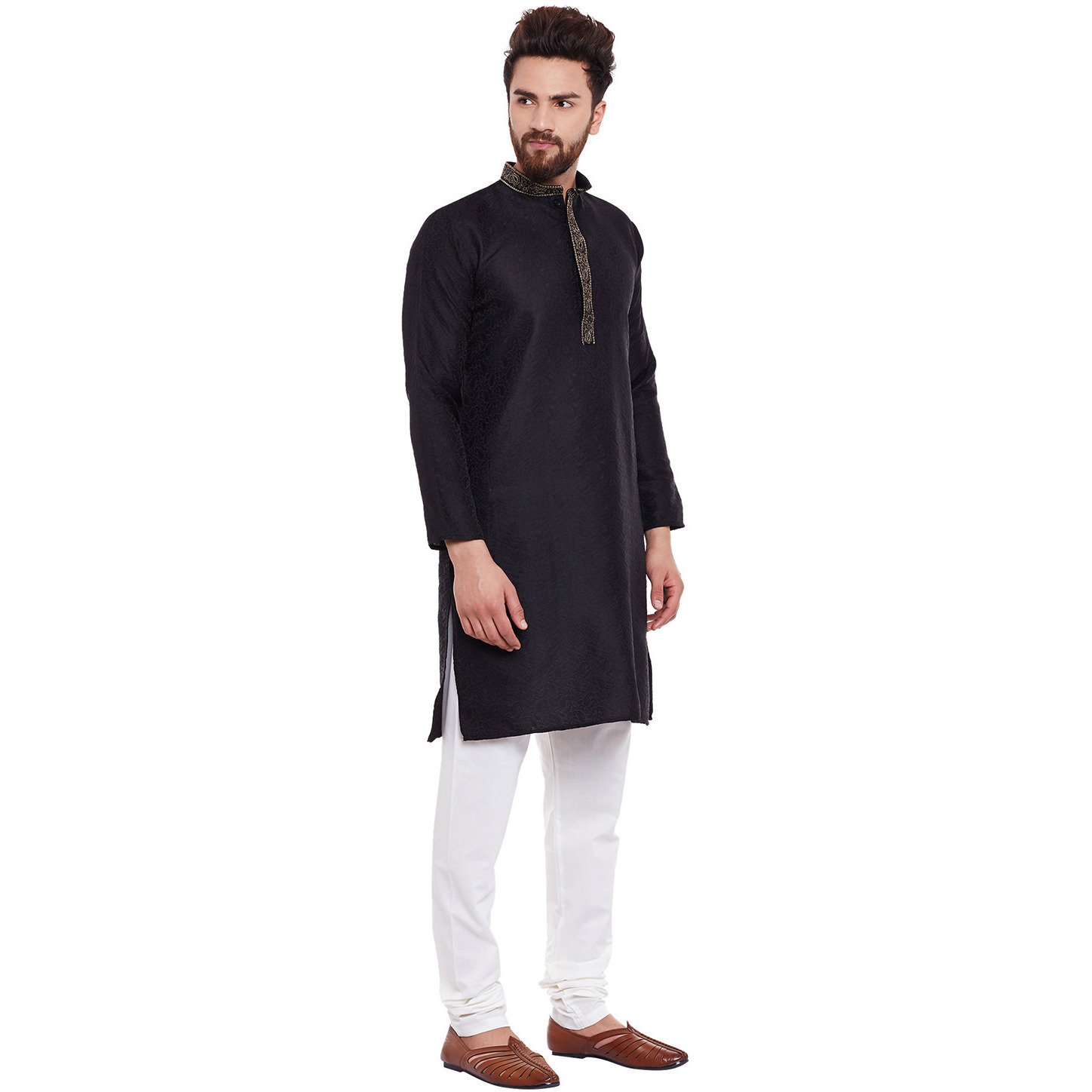 Mens Silk Black Self design pattern Designer Kurta Churidaar Set Long Sleeve Ban collar Regular Fit