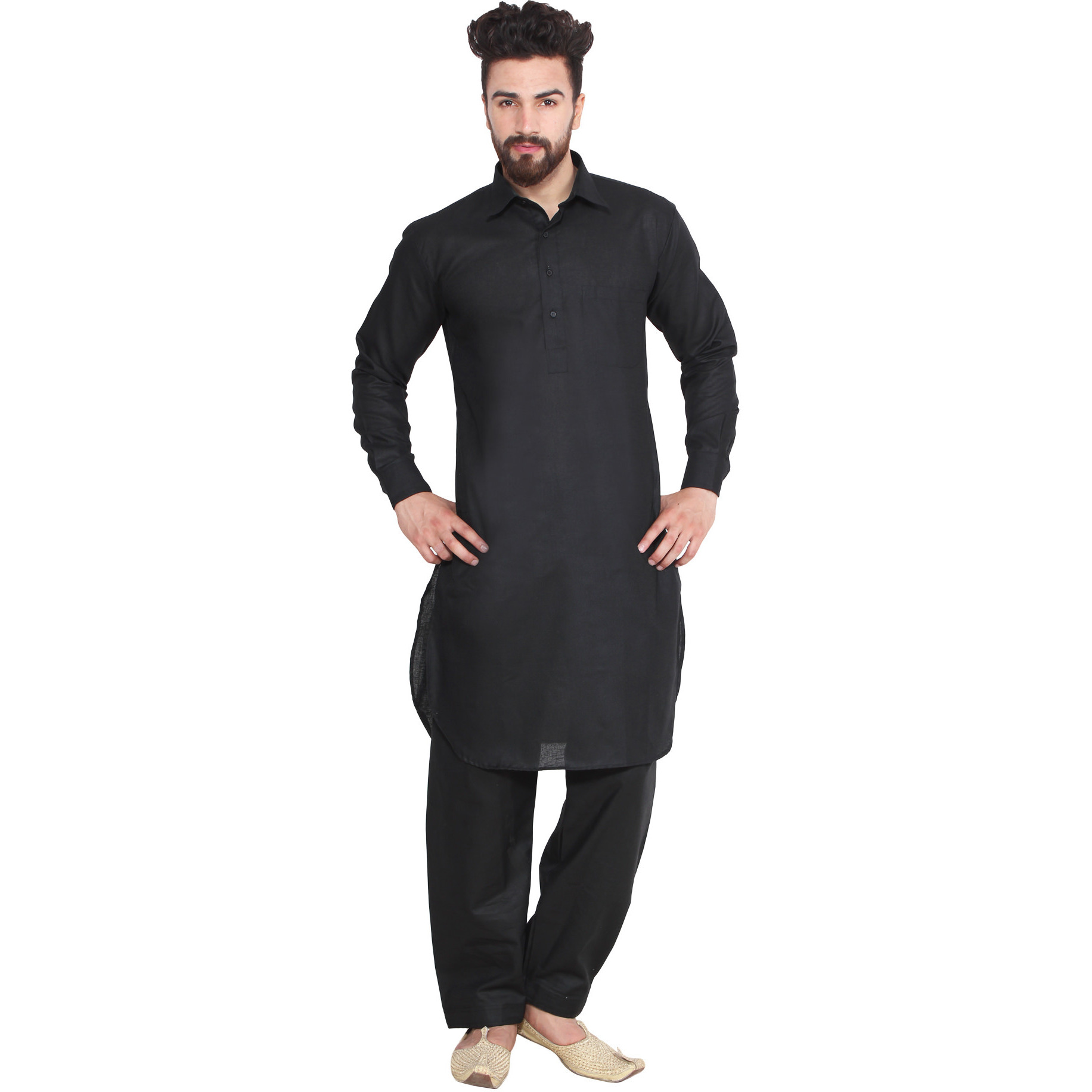 Mens Silk Black Solid Designer Kurta Salwar Long Sleeve Ban collar Regular Fit