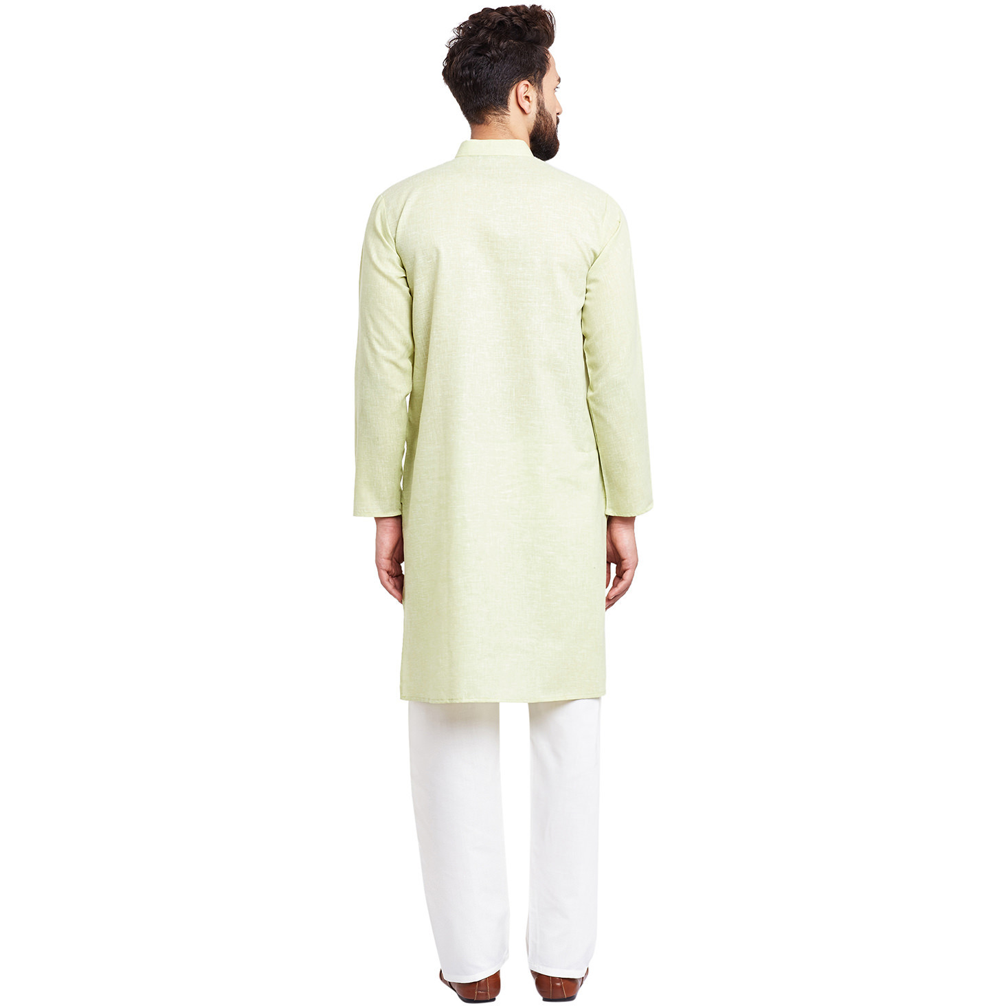 Mens Silk Lime Green Solid Designer Kurta Churidaar Set Long Sleeve Ban collar Regular Fit