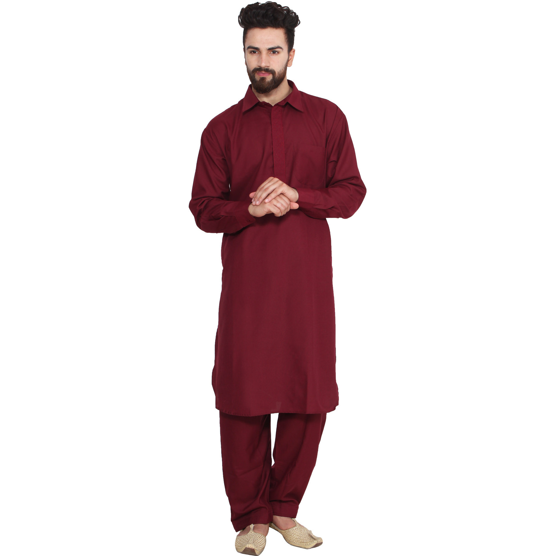 Mens Silk Maroon Emroidery Designer Kurta Churidaar Set Long Sleeve Ban collar Regular Fit