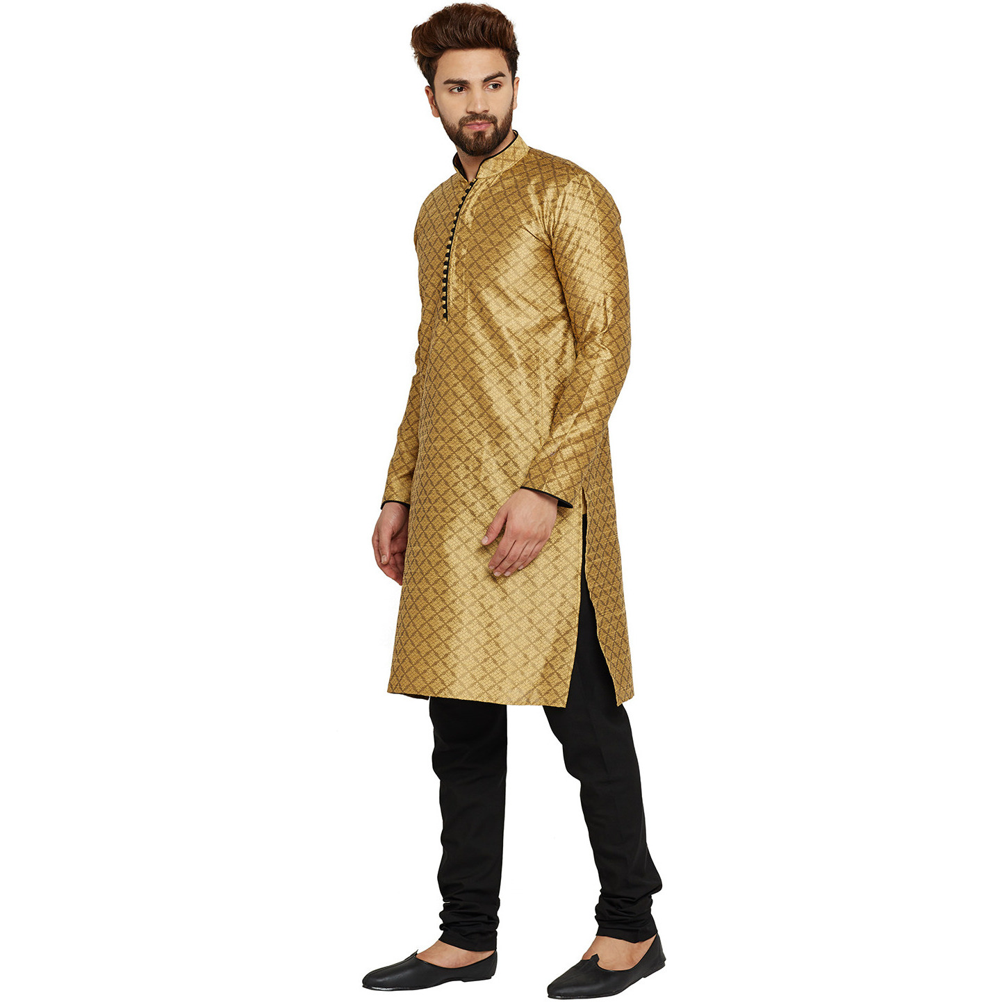 Mens Silk Golden Self design pattern Designer Kurta Churidaar Set Long Sleeve Ban collar Regular Fit