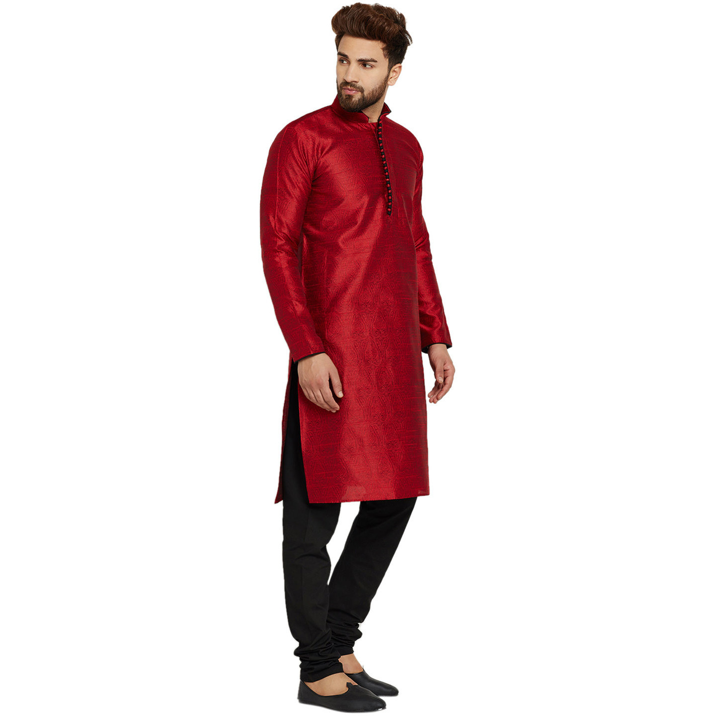 Mens Silk Maroon Self design pattern Designer Kurta Churidaar Set Long Sleeve Ban collar Regular Fit
