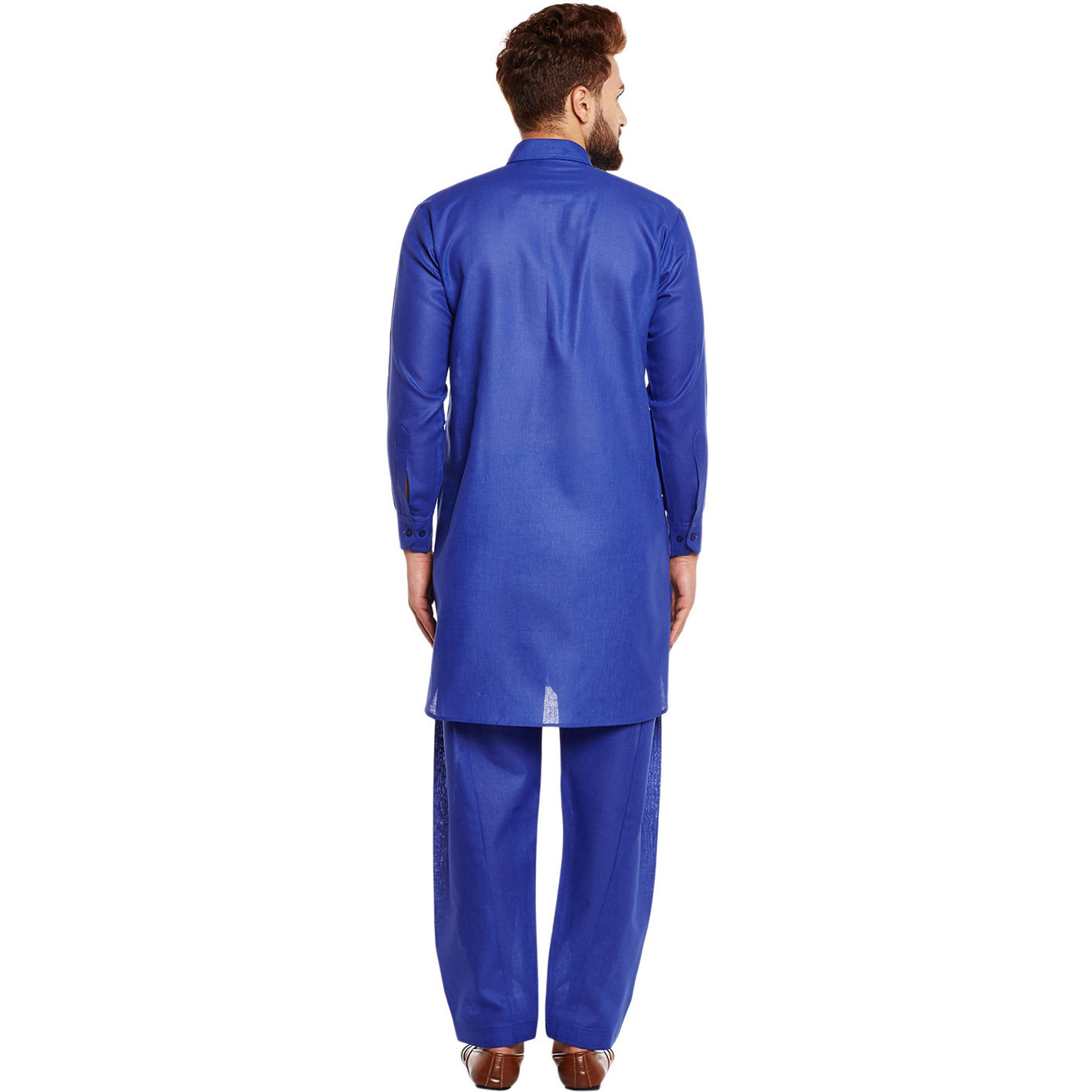 Mens Silk Royal Blue Solid Designer Kurta Churidaar Set Long Sleeve Ban collar Regular Fit