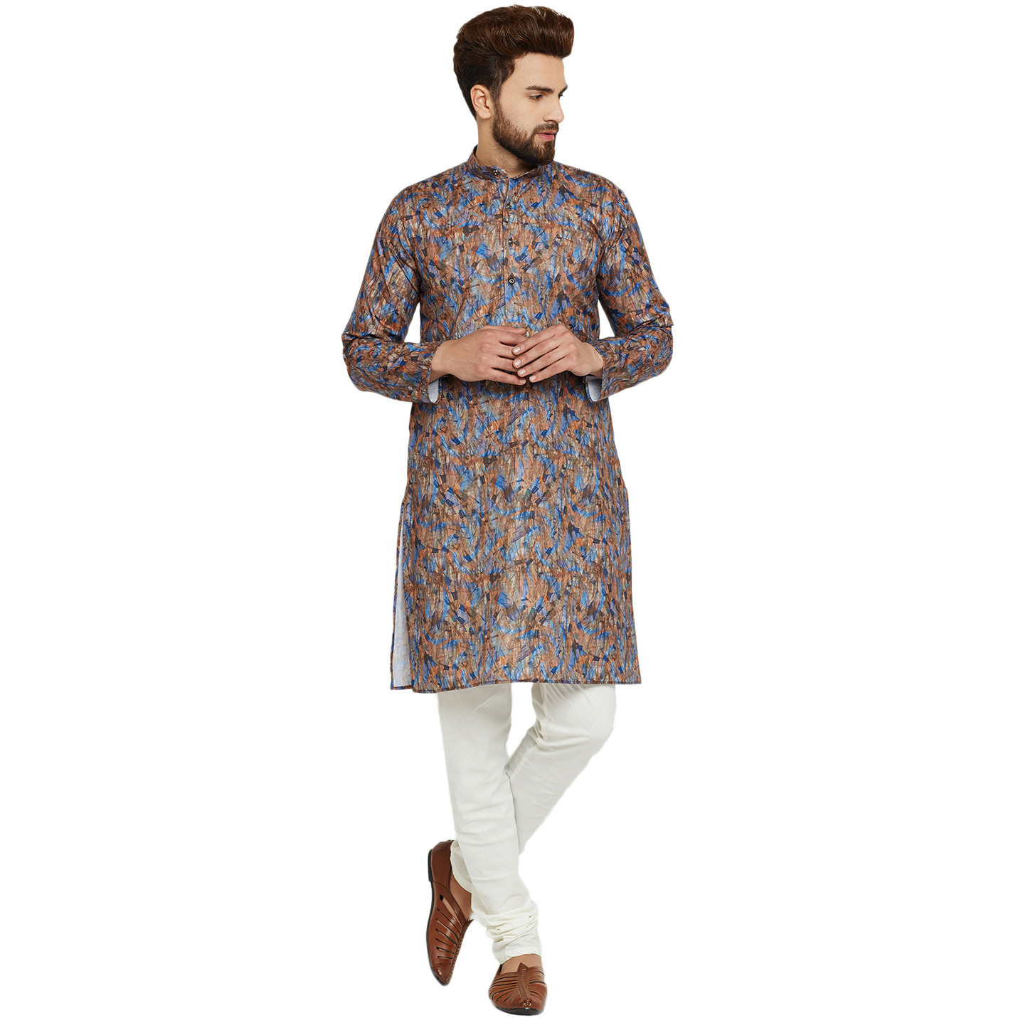 Mens Silk Multicolored Printed Designer Kurta Churidaar Set Long Sleeve Ban collar Regular Fit