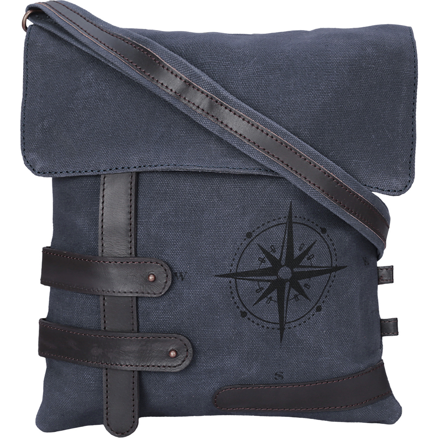 NEUDIS Genuine Leather & Recycled Stone Washed Canvas Travel Sling / Cross Body Bag for iPad & Tablet - Compass - Blue