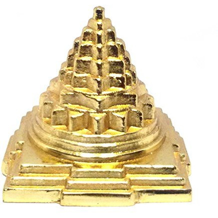 Buycrafty 1 inches, Pack of 5 Brass Copper Golden Pyramid Ashtadhatu Laxmi Yantra Feng shui Positive energy Good For Health and Wealth