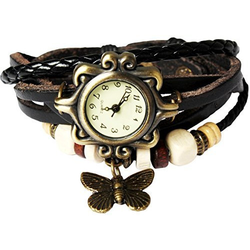 Bohemian Style [Retro] Handmade Leather [Butterfly Pendant] Wrist Watch. Beautiful, Fashionable [Luxury] & Stylish [Weave Around] Wrap Watch Bracelet For Women, Ladies, Girls- Black