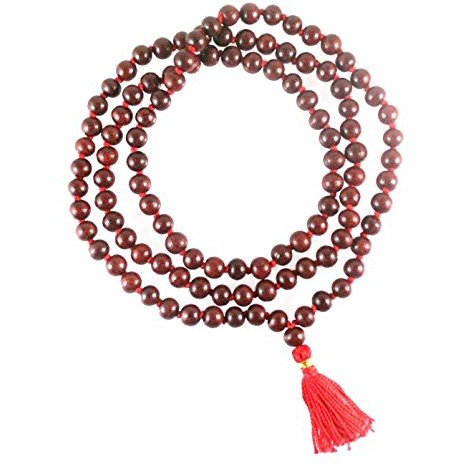 silk dark wood necklace beads buddhist with ebonywood rosary small mala pin tiger prayer sandalwood