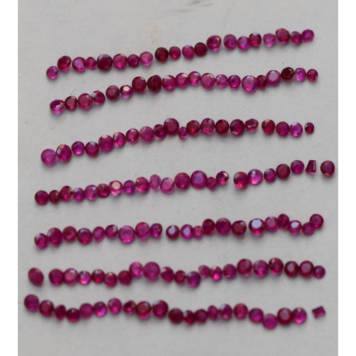 Natural Pink Red Ruby Melee 1 to 1.5MM Round Cut 1 Carat Gemstone