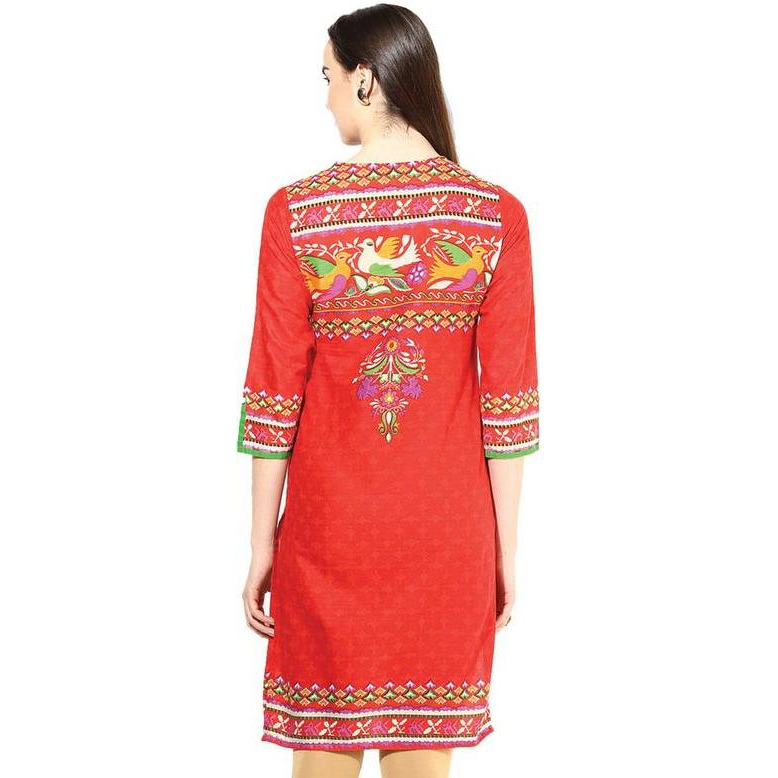 Jaipur Kurti Women Ethnic Pure Cotton Vintage Print Kurta 3/4th Sleeves Casual Tunic Top Summer Wear, Red