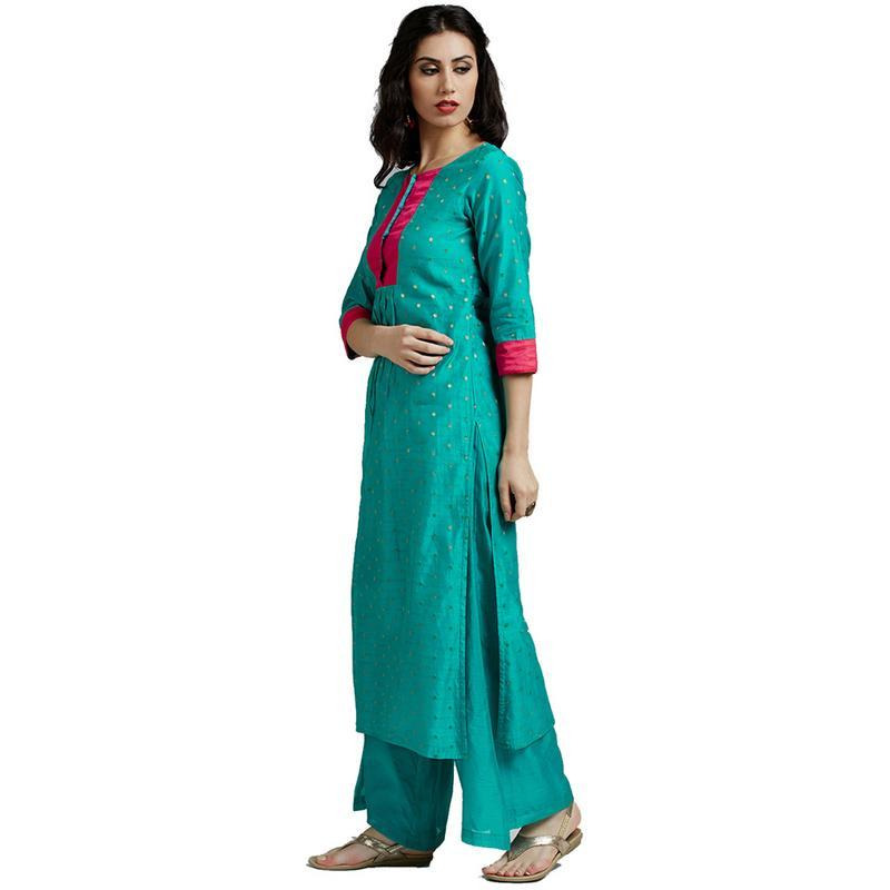 Jaipur Kurti Women Ethnic Chanderi Solid Print Kurta 3/4th Sleeves Casual Tunic Summer Wear, Sea Green