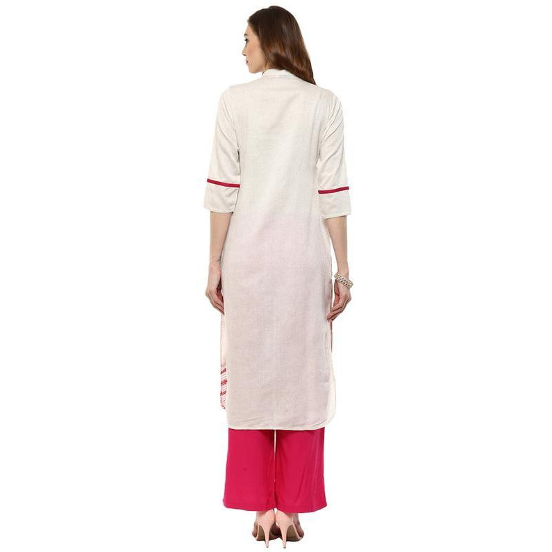 Jaipur Kurti Women Ethnic South Cotton Self Print Kurta 3/4th Sleeves Casual Tunic Summer Wear, Off-White