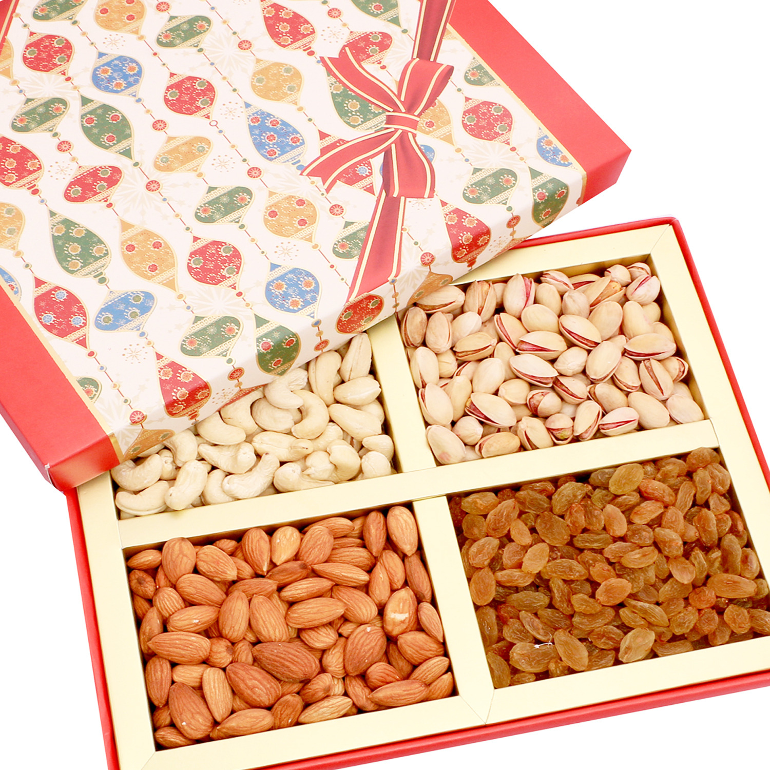 Dryfruits - Red Square 4 Part Dryfruit Box