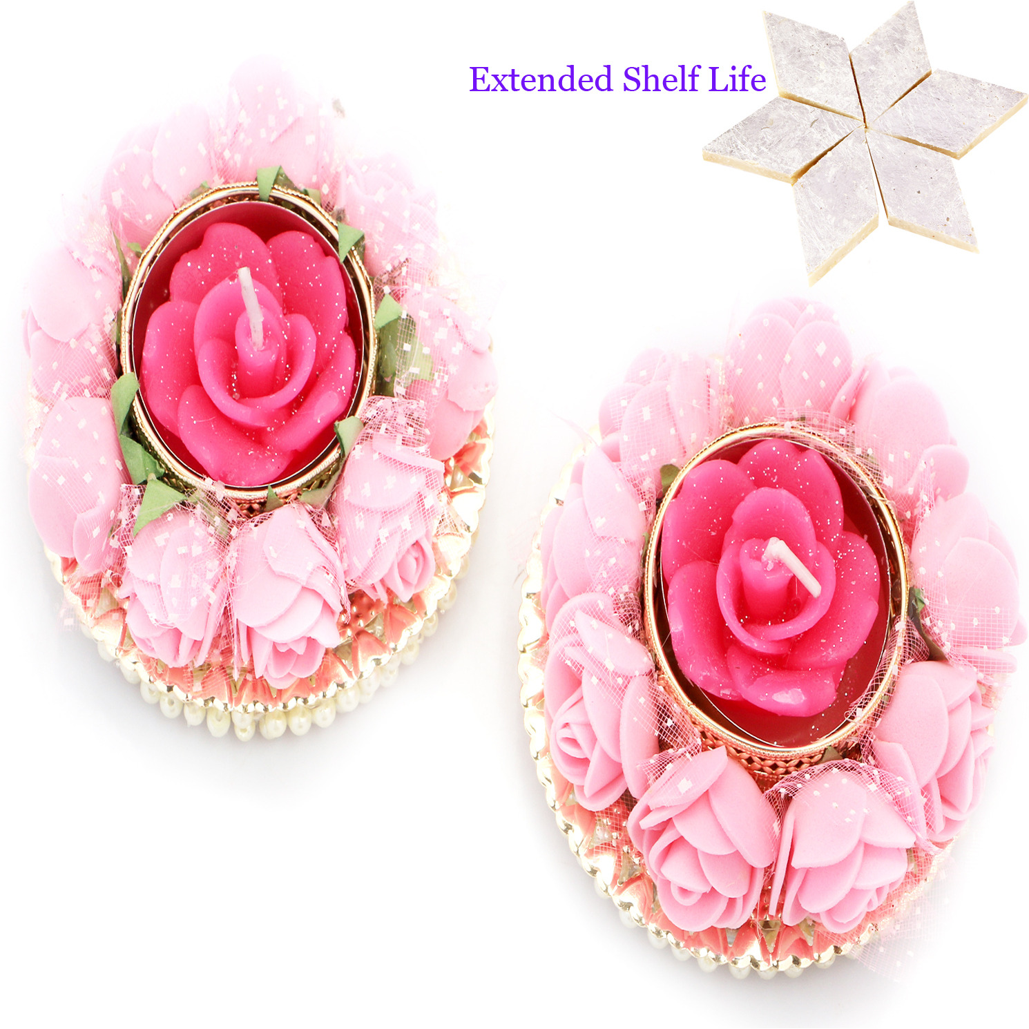 Set Of 2  Roses T-Lites With 400 Gms Kaju Katli