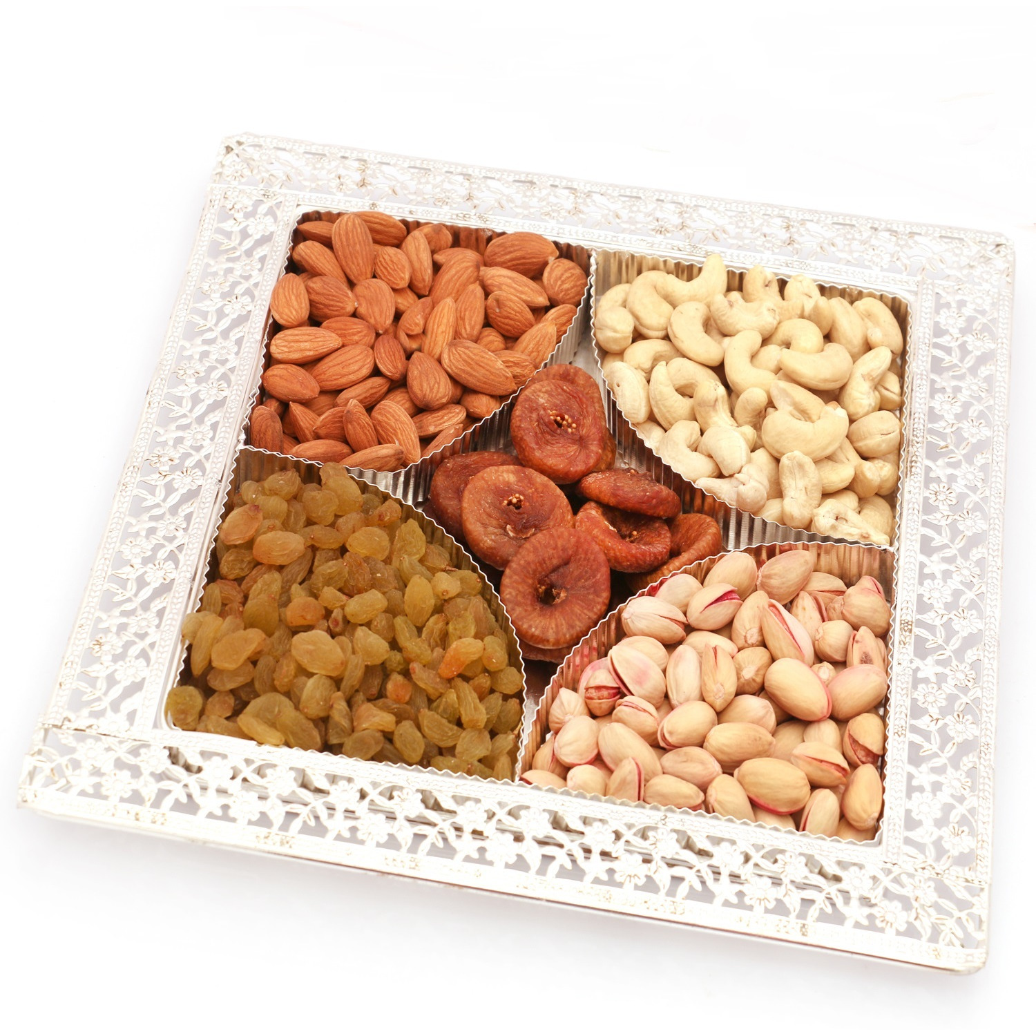 Silver 5 Partition Dryfruit Tray