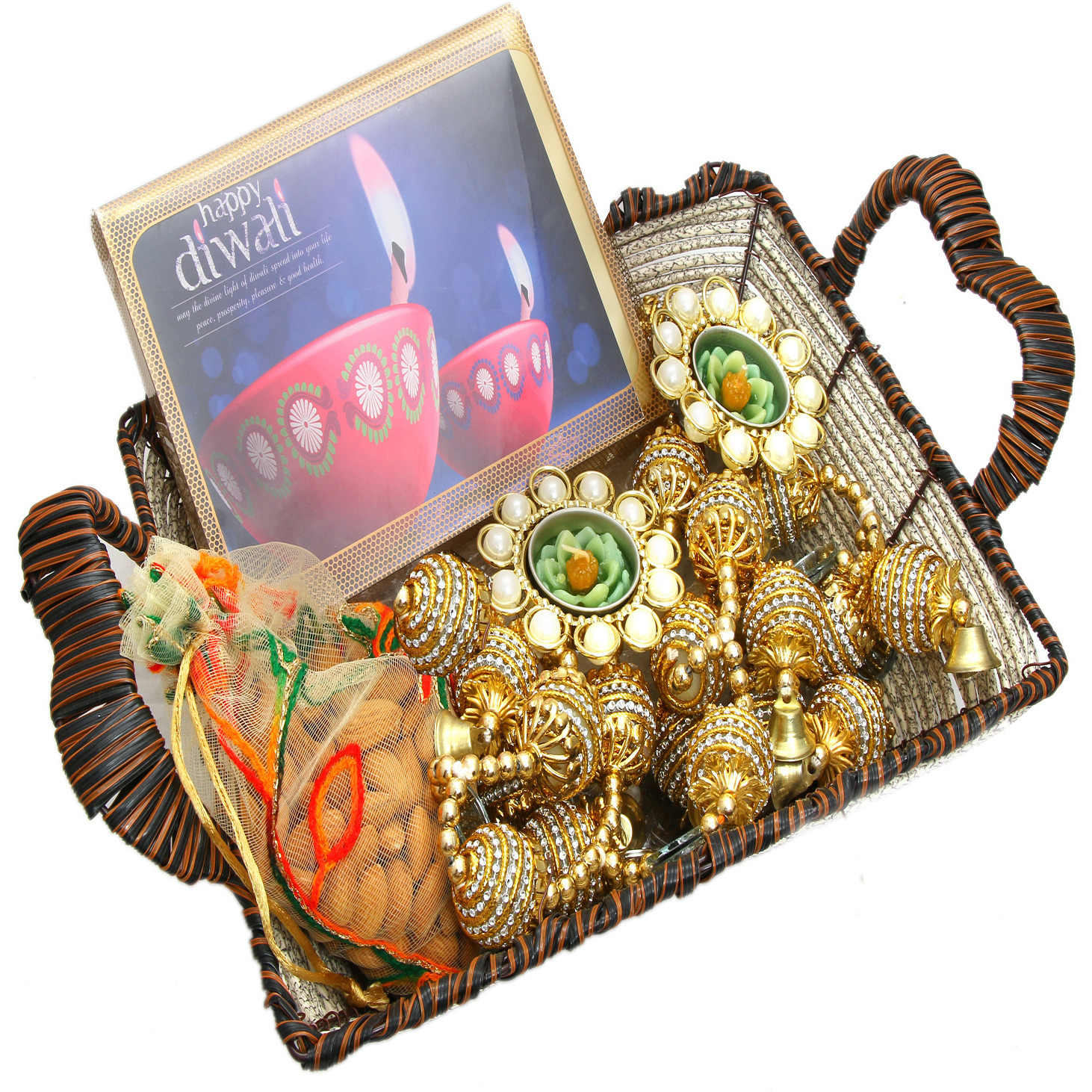 Hampers-Brown Cane Basket With Happy Diwali Chocolate Box, Almonds, Toran  And 2 T-Lites