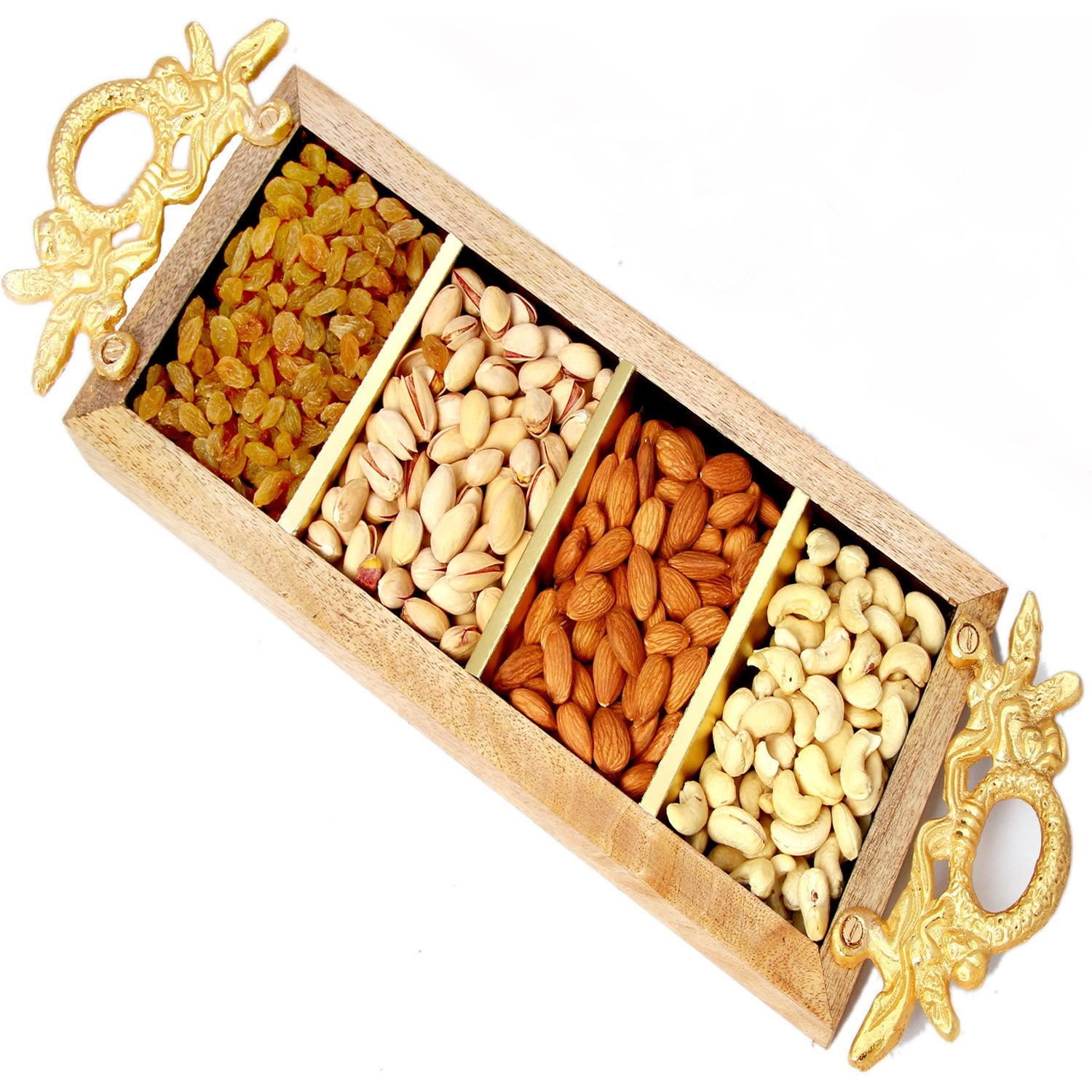Ghasitaram Gifts Dryfruits -  Golden Handle Wooden Dryfruit Tray