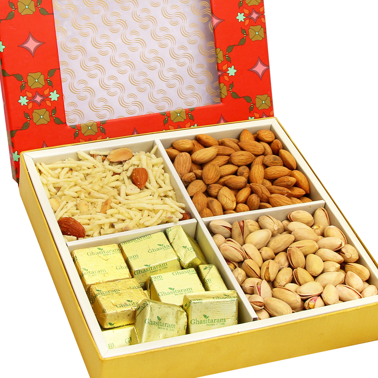 Hampers - Red Printed 4 Part Almonds,Pistachios,Chocolate And Namkeen Box