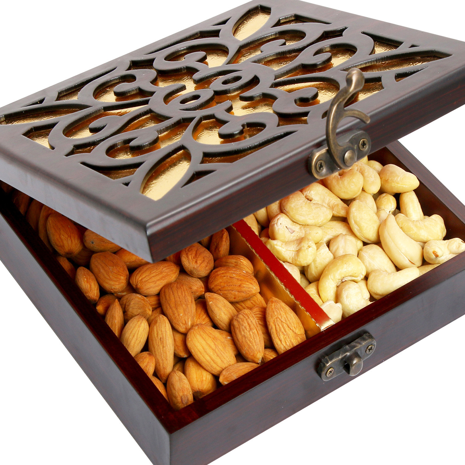 Dryfruits- Lazer Wooden Jewellery Cashew Almond Box