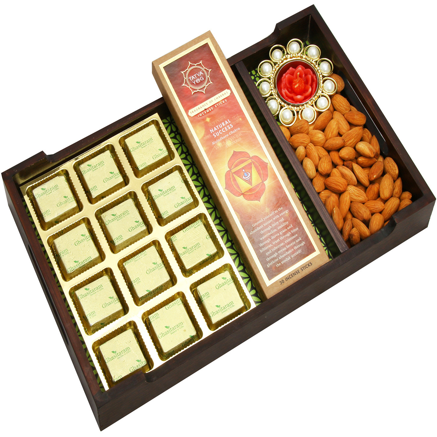 Hampers-  Green Wooden Starters Serving Tray With Mewa Bites, Almonds, Incence Sticks, And A T-Lite
