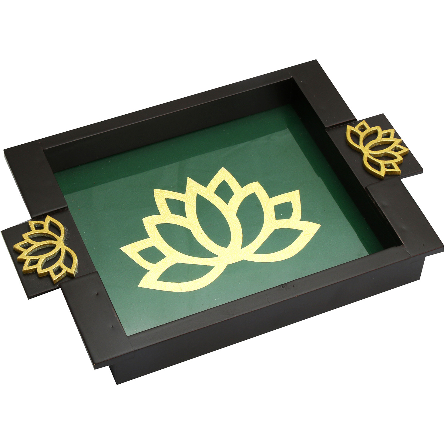 Decoration- Green Wooden Serving Tray