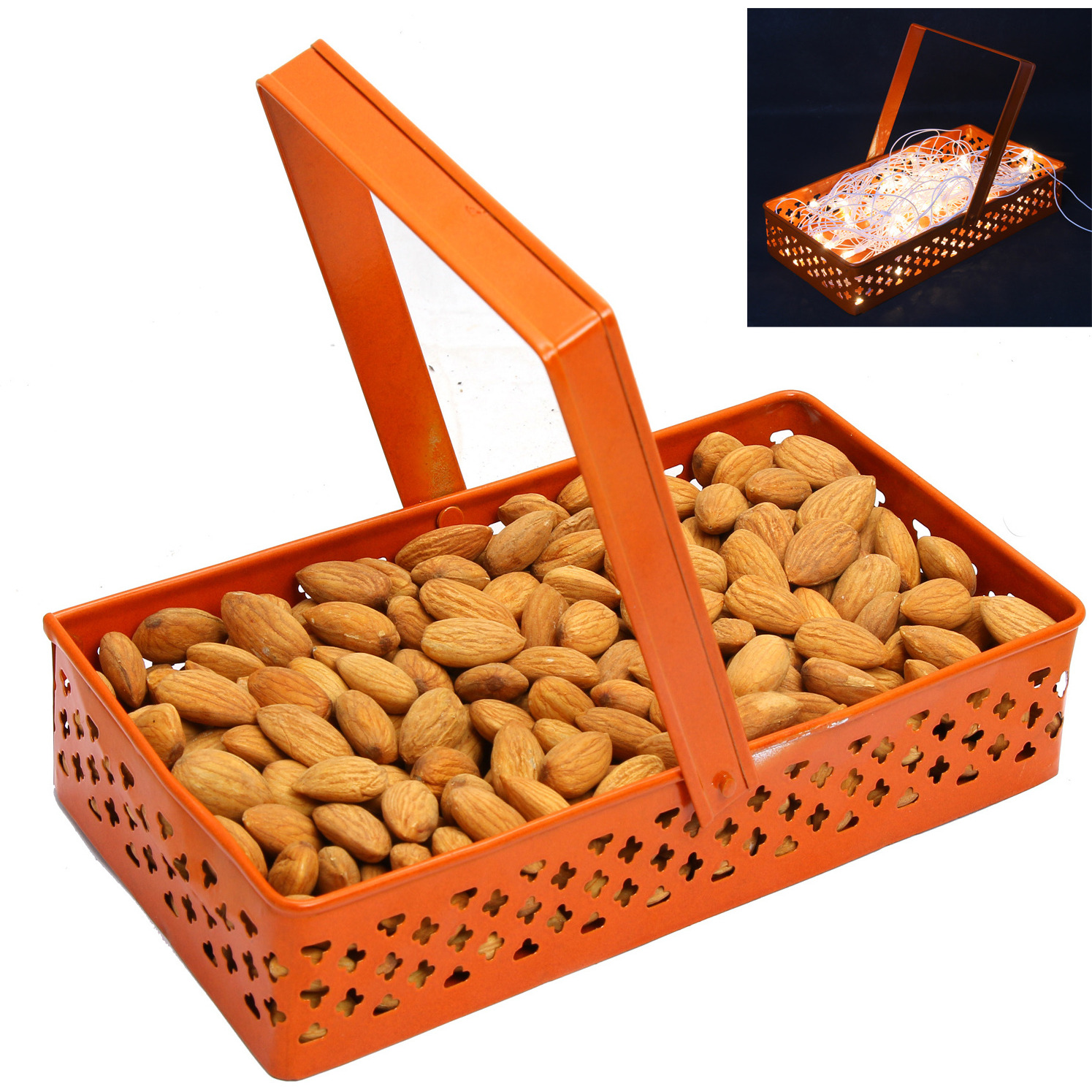 Hampers- Rectangle Orange Metal Basket With Almonds