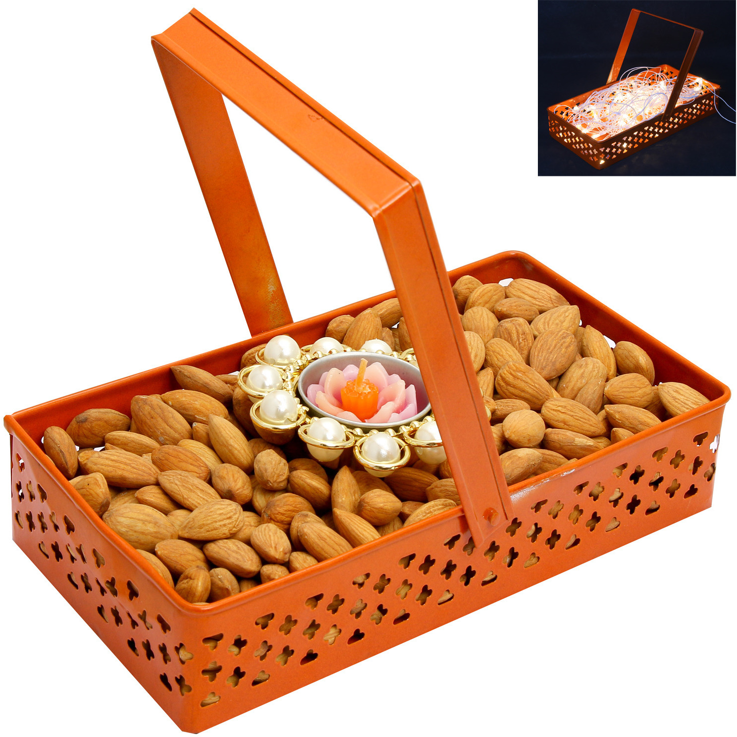 Hampers- Rectangle Orange Metal Basket With Almonds And T- Lite