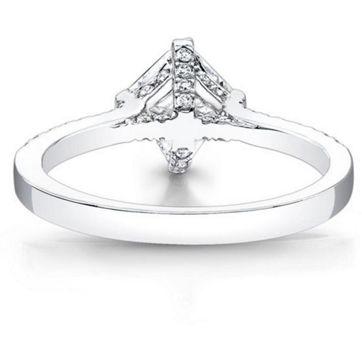 Women 0.76 ct Diamond Engagement Rings Fine 14KT White Gold Diamond Ring Jewelry