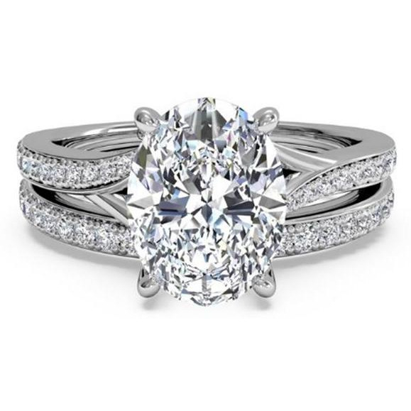 Women  1.50 ct Diamond Engagement Rings Set  14KT White Gold Diamond Ring Brand Jewelry