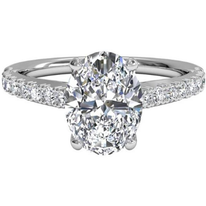 Women 1.30 ct Diamond Engagement Rings  14KT White Gold Diamond Ring Brand Jewelry