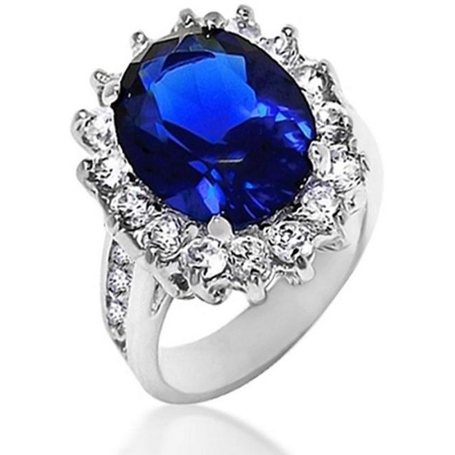 Buy 925 Sterling Silver Shiny Blue Color Stone Ring
