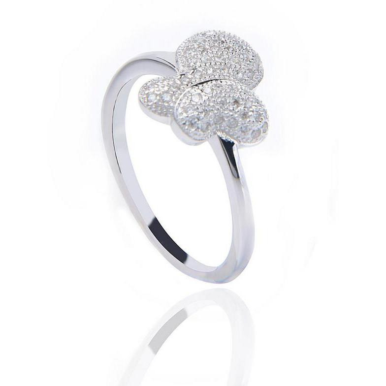 Cute Butterfly Sterling Silver Ring With Cubic Zirconia Diamond