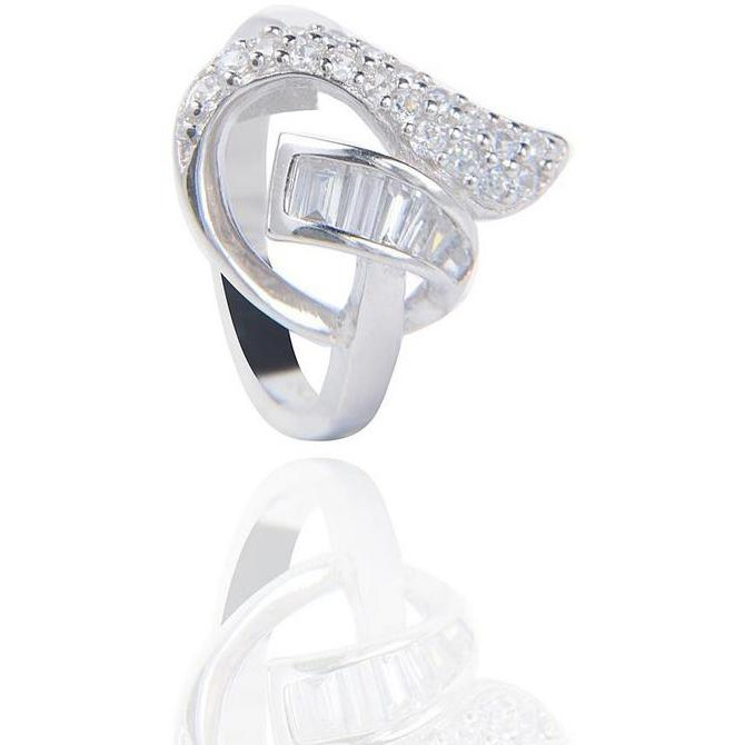 Baguette And Round Cz Silver Plated Ring