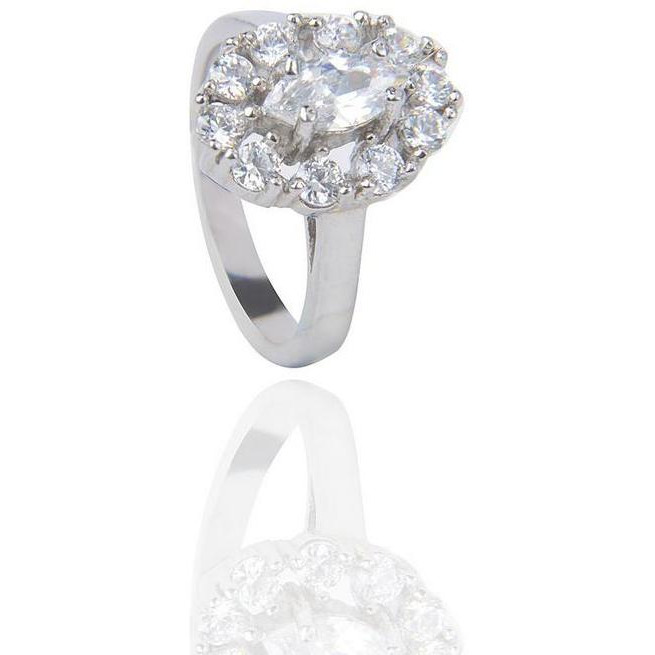 Showcasing  A Stunning Marquise-Cut Centre Stone In Silver Plated Ring