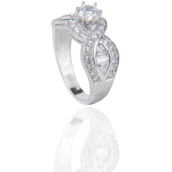 Silver Plated Cubic Zirconia Diamond  Engagement Ring