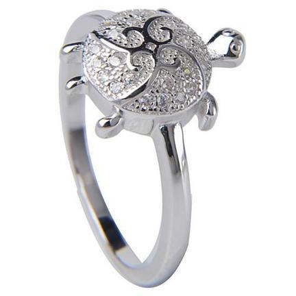 92.5 Sterling Silver Tortoise Ring Made With Cubic Zirconia Diamond From Silver