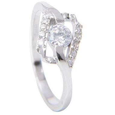 Elegant 925 Sterling Silver Casual Ring With Cz Soiltaire Diamond