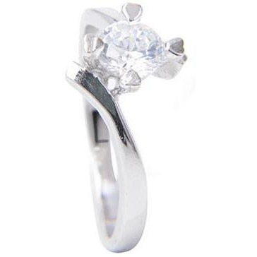 Sterling Silver Solitaire Cubic Zirconia Diamond  Engagement Ring