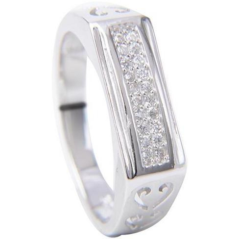 Casual Sterling Silver Ring For Gents With Cz Diamond