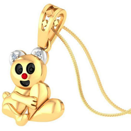 Kid's pendant 925 silver Yellow palted