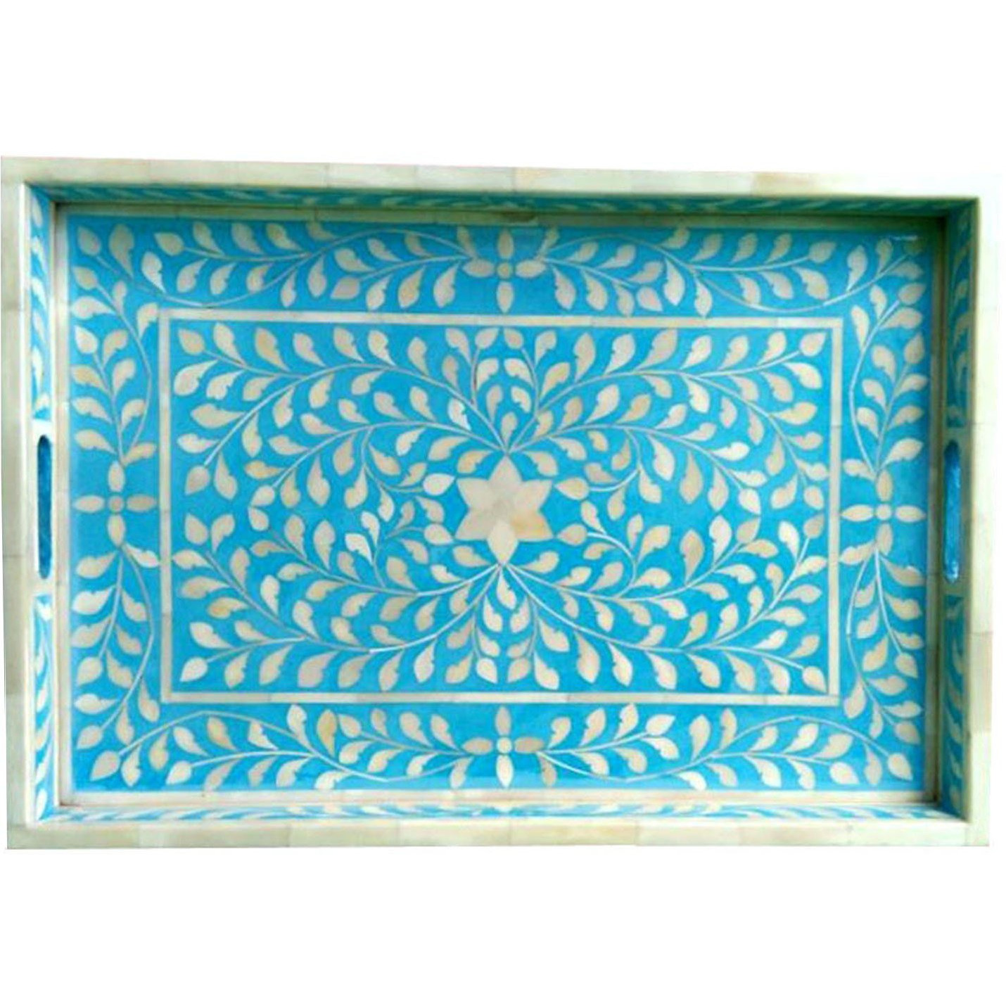 Blue Floral Bone Inlay Serving Tray